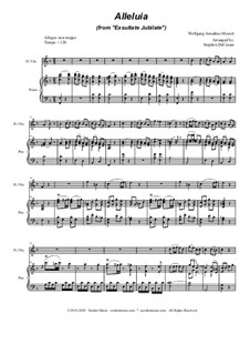 Exsultate, jubilate, K.165: Alleluia, for Flute or Violin solo and Piano by Wolfgang Amadeus Mozart