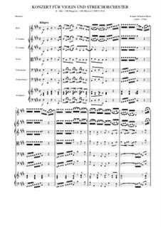 Concerto for Violin, Strings and Basso Continuo No.2 in E Major, BWV 1042: Full score by Johann Sebastian Bach