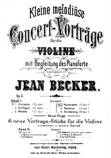 Humoresque for Violin and Piano, Op.3 No.2: Solo part by Jean Becker