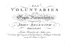 Six Voluntaries for Organ (or Harpsichord): Complete set by John Beckwith