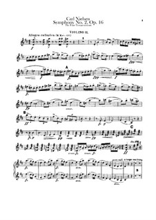 Symphony No.2 'The Four Temperaments', FS 29 Op.16: Violin II part by Carl Nielsen