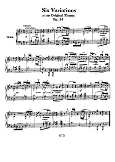 Six Variations on a Swiss Song, Op.34: For piano by Ludwig van Beethoven