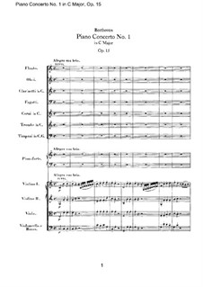 Concerto for Piano and Orchestra No.1, Op.15: Score by Ludwig van Beethoven