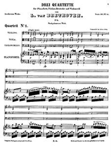 Three Piano Quartets, WoO 36: Quartet No.1 by Ludwig van Beethoven