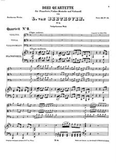 Three Piano Quartets, WoO 36: Quartet No.2 by Ludwig van Beethoven