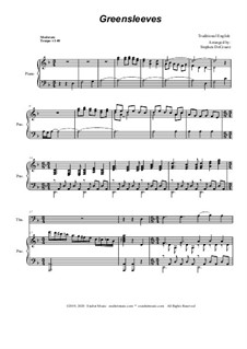 Greensleeves: For Trombone solo and Piano by folklore
