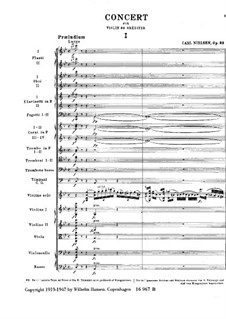 Concerto for Violin and Orchestra in G Major, FS 61 Op.33: Full score by Carl Nielsen