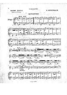 Barbe-bleue (Bluebeard): Clarinets part by Jacques Offenbach