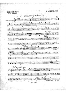 Barbe-bleue (Bluebeard): Percussions part by Jacques Offenbach
