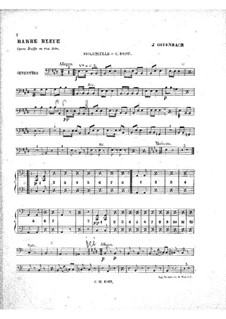 Barbe-bleue (Bluebeard): Cellos and double bass part by Jacques Offenbach