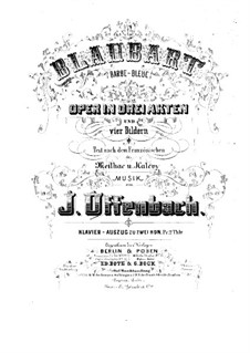 Barbe-bleue (Bluebeard): For piano by Jacques Offenbach