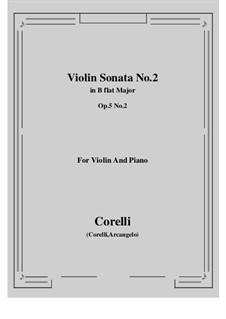 Sonata No.2: Arrangement for violin and piano by Arcangelo Corelli