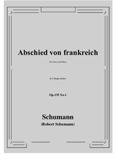 Poems of Queen Mary Stuart, Op.135: No.1 Abschied von frankreich (f sharp minor) by Robert Schumann