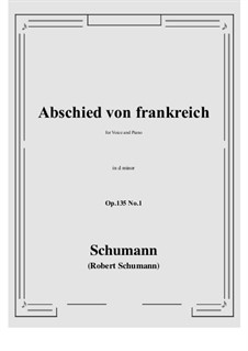Poems of Queen Mary Stuart, Op.135: No.1 Abschied von frankreich (d minor) by Robert Schumann