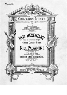 Le Streghe (Witches Dance), Op.8: For cello and piano – solo part by Niccolò Paganini