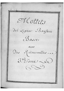 Motets for Voice, Two Violins and Basso Continuo: Volume III by Giovanni Battista Bassani