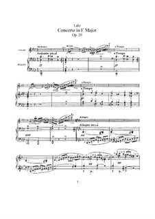 Violin Concerto, Op.20: For violin and piano by Édouard Lalo