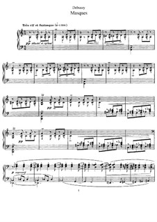 Masques, L.105: For piano by Claude Debussy