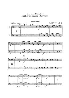 The Barber of Seville, R 1.64: Overture – bassoons parts by Giovanni Paisiello