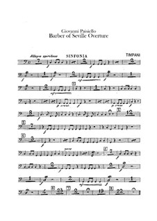 The Barber of Seville, R 1.64: Overture – timpani parts by Giovanni Paisiello