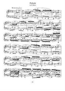 Prelude in F Minor: For piano by Johann Sebastian Bach