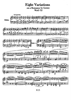 Eight Variations on Theme from 'Richard Coeur-de-lion' by Grétry, WoO 72: For piano by Ludwig van Beethoven