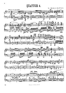 Quartet No.4 in C Minor: Version for piano by Ludwig van Beethoven
