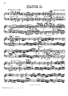 String Quartet No.13 in B Flat Major, Op.130: Version for piano by Ludwig van Beethoven