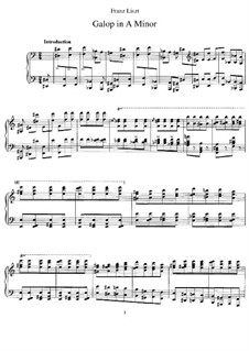 Galop in A Minor, S.218: For piano by Franz Liszt