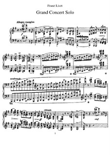 Grand Concert Solo, S.176: For piano by Franz Liszt