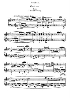 Faust Symphony. Gretchen, S.513: For piano by Franz Liszt