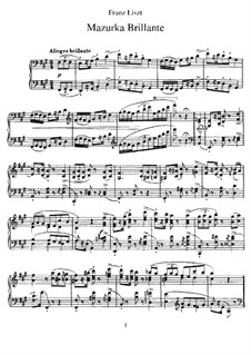 Mazurka Brilliant in A Major, S.221: For piano by Franz Liszt