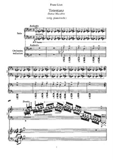 Dance of Death, for Piano, S.525: For a single performer by Franz Liszt