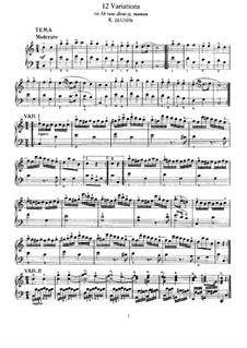 Twelve Variations on 'Ah vous dirais-je, Maman', K.265/300e: For piano by Wolfgang Amadeus Mozart