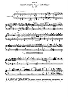 Concerto for Piano and Orchestra No.21 in C Major, K.467: Arrangement for two pianos four hands by Wolfgang Amadeus Mozart