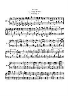 Twelve Valses Nobles, D.969: For piano by Franz Schubert