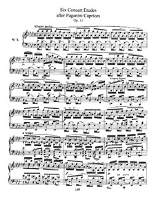 Six Concert Etudes after Caprices Paganini, Op.10: For piano by Robert Schumann