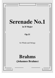 Serenade No.1 in D Major, Op.11: Score, parts by Johannes Brahms