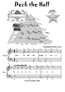 Deck the Hall, for Piano: For easiest piano with colored notes by folklore