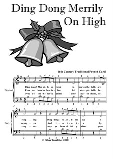 Ding Dong! Merrily on High: For easy piano with colored notes by folklore