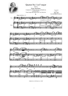 Quartet No.1 in F Major: Verdion for flute and piano - score and part by Ludwig van Beethoven