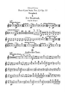 Suite No.2, Op.55: Trumpets parts by Edvard Grieg