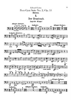 Suite No.2, Op.55: Double basses parts by Edvard Grieg