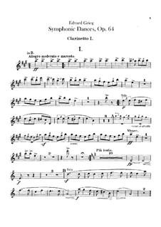 Four Symphonic Dances, Op.64: Clarinets parts by Edvard Grieg