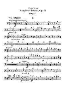 Four Symphonic Dances, Op.64: Percussion parts by Edvard Grieg