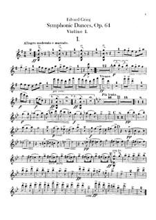 Four Symphonic Dances, Op.64: Violins parts by Edvard Grieg