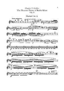 The Pleasure Dome of Kubla Khan, Op.8: Clarinets parts by Charles Tomlinson Griffes