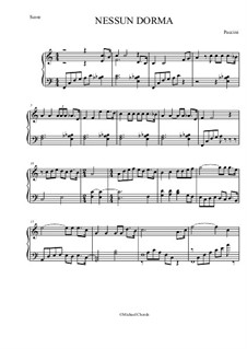 Turandot: Nessun dorma, for easy piano by Giacomo Puccini