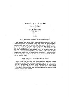 Ancient Scots Tunes for String Quartet, Op.82: Ancient Scots Tunes for String Quartet by Alexander Mackenzie