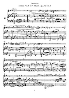 Sonata for Violin and Piano No.6, Op.30 No.1: Score, solo part by Ludwig van Beethoven